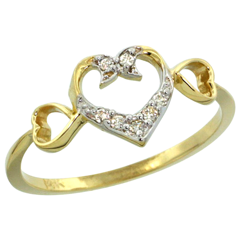 10K Yellow Gold Heart Diamond Engagement Ring with 0.06 cttw, 11/32 inch wide