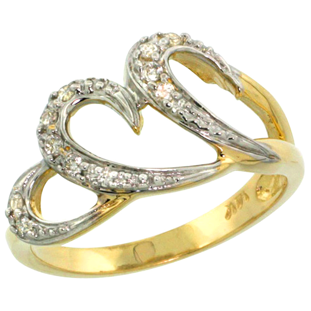 10K Yellow Gold Triple Heart Diamond Engagement Ring 0.13 cttw, 7/16 inch wide
