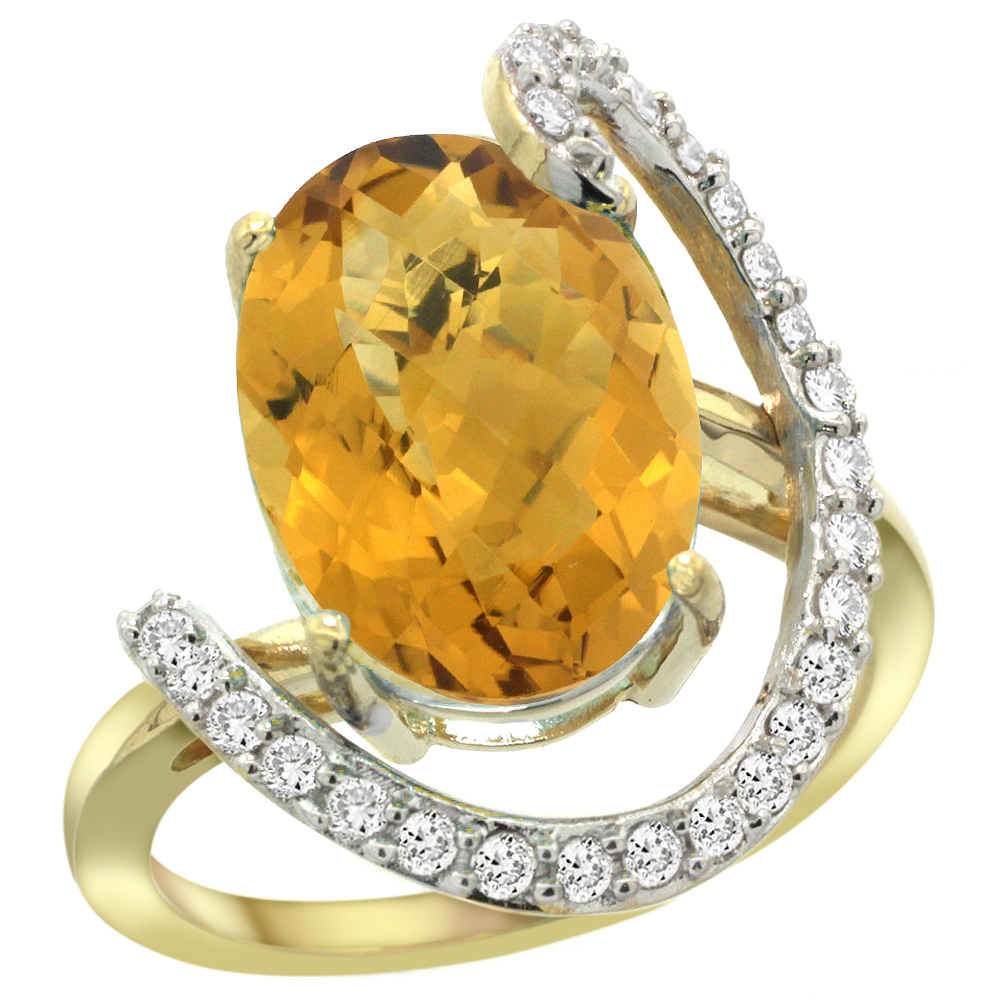 14k Yellow Gold Natural Whisky Quartz Ring Oval 14x10 Diamond Accent, 3/4inch wide, sizes 5 - 10