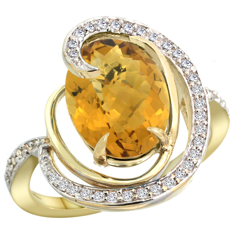14k Yellow Gold Natural Whisky Quartz Ring Oval 12x10mm Diamond Accents, sizes 5 - 10