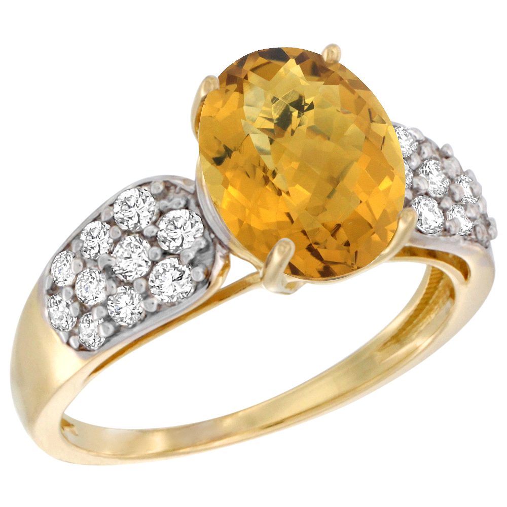 14k Yellow Gold Natural Whisky Quartz Ring Oval 10x8mm Diamond Accent, 7/16inch wide, sizes 5 - 10