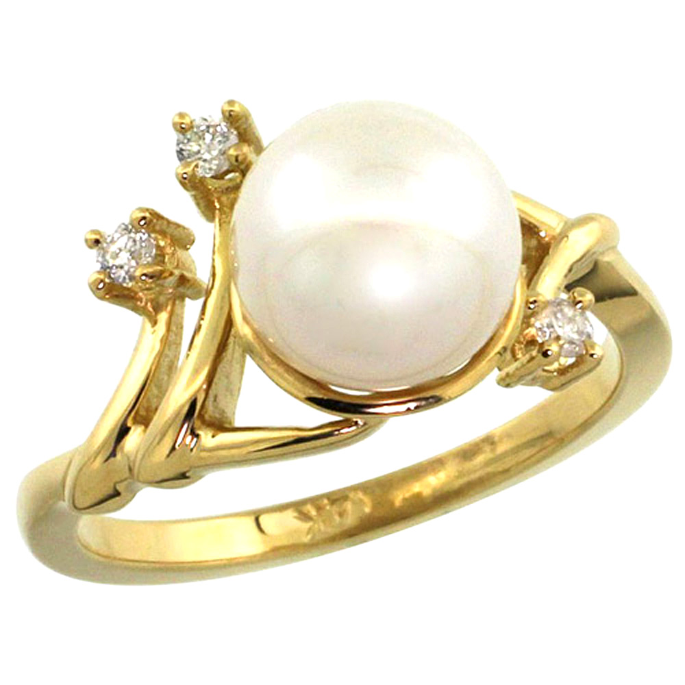 10K Yellow Gold Pearl Ring 9mm & 0.085 cttw Diamond Accents