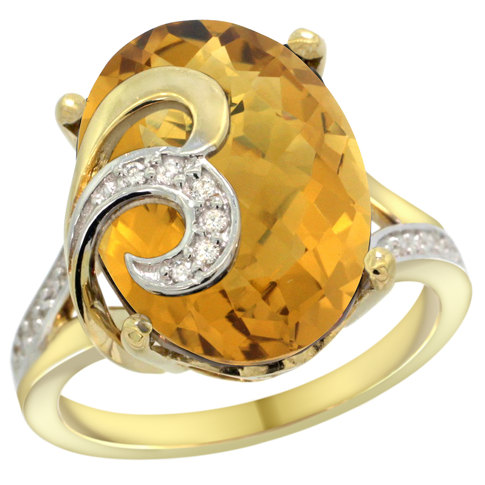 14k Yellow Gold Natural Whisky Quartz Ring 16x12 mm Oval Shape Diamond Accent, 5/8 inch wide