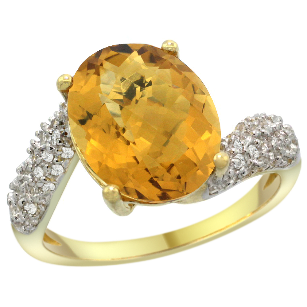14k Yellow Gold Natural Whisky Quartz Ring Oval 12x10mm Diamond Halo, 1/2inch wide, sizes 5 - 10