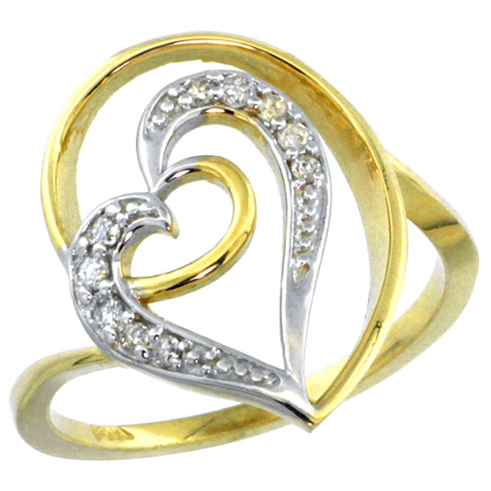 10K Yellow Gold Floating Heart Diamond Ring 0.15 cttw, 5/8 inch wide