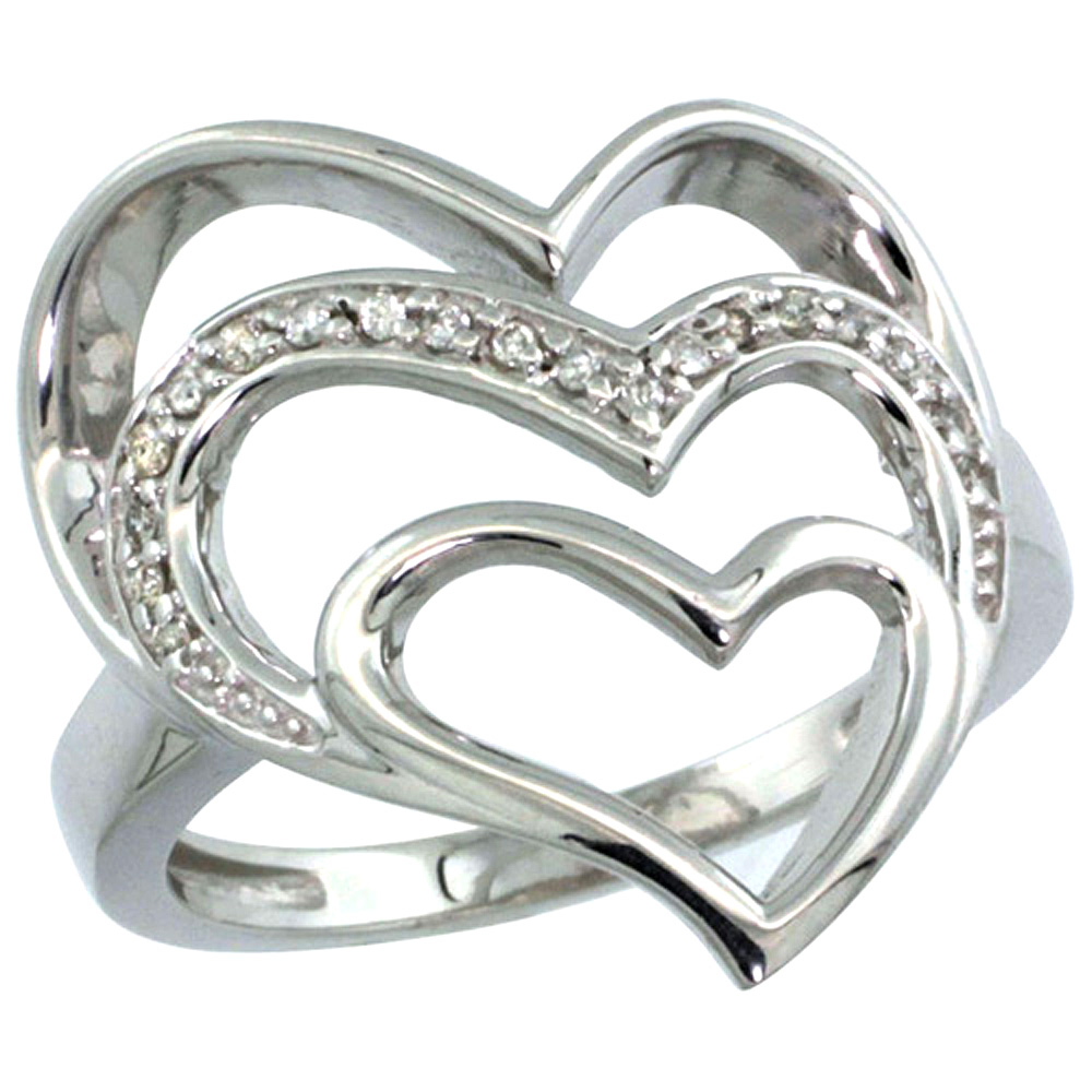 10K Gold Triple Heart Diamond Ring 0.09 cttw, 7/8 inch wide