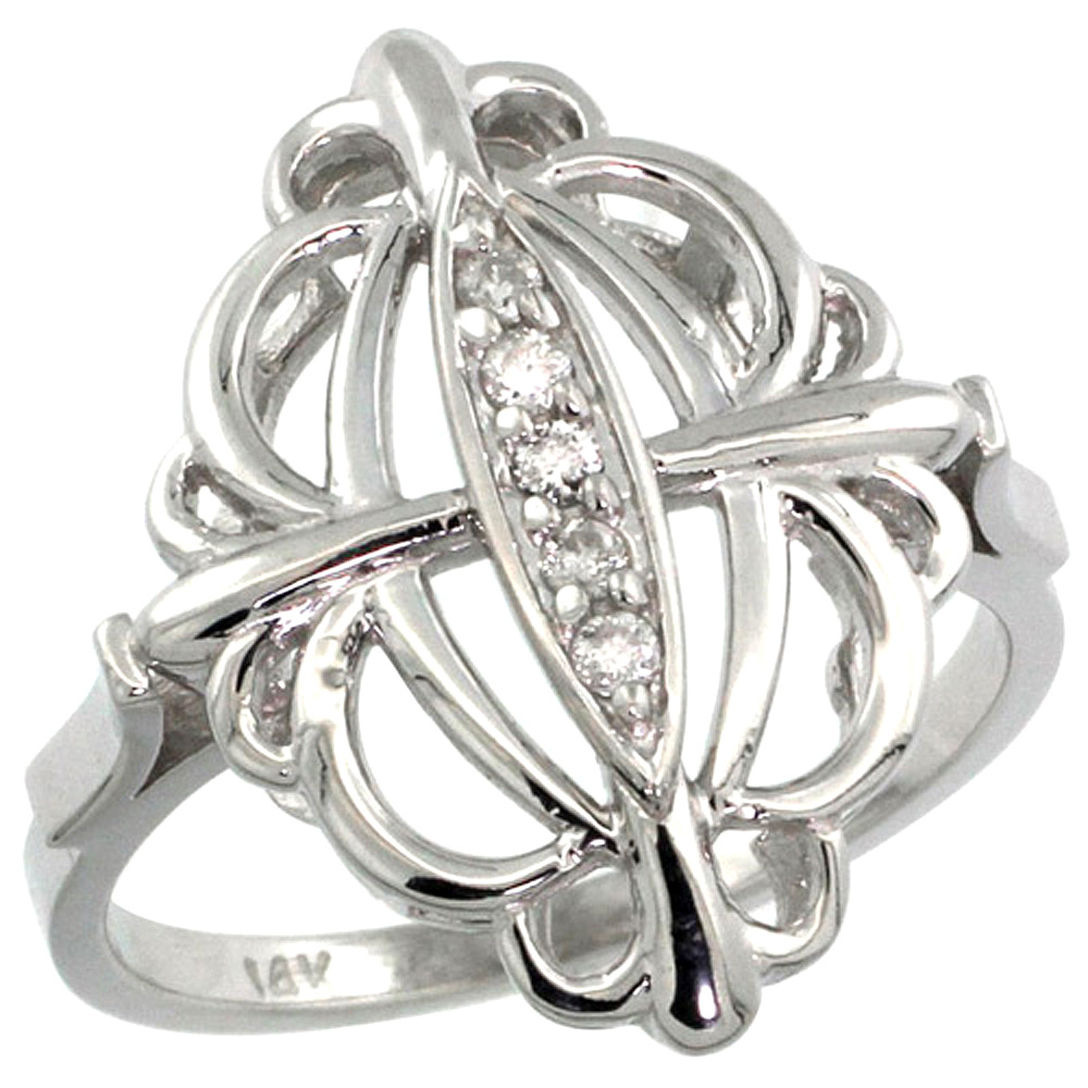 10K White Gold Fleur De Lis Loop Diamond Ring 0.10 cttw, 13/16 inch wide