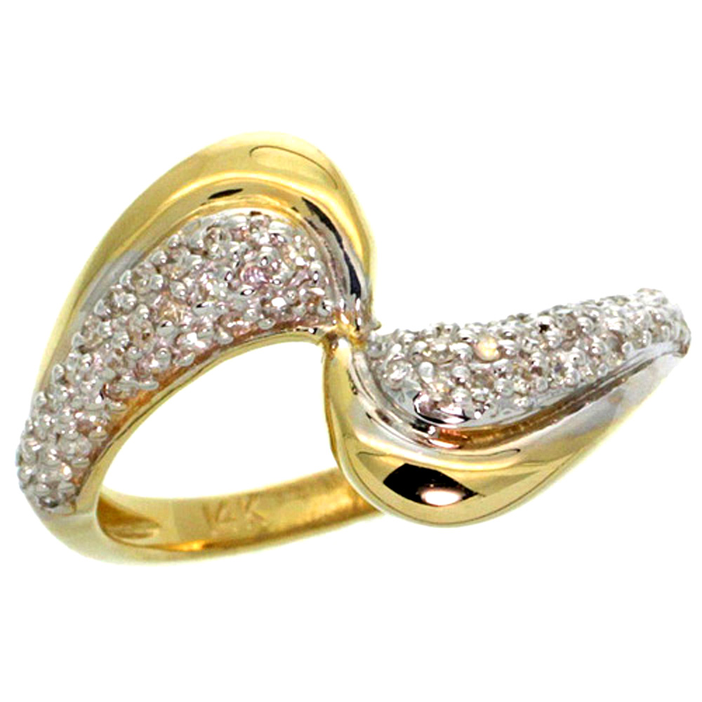 10K Yellow Gold Wave Diamond Ring 0.30 cttw, 1/2 inch wide