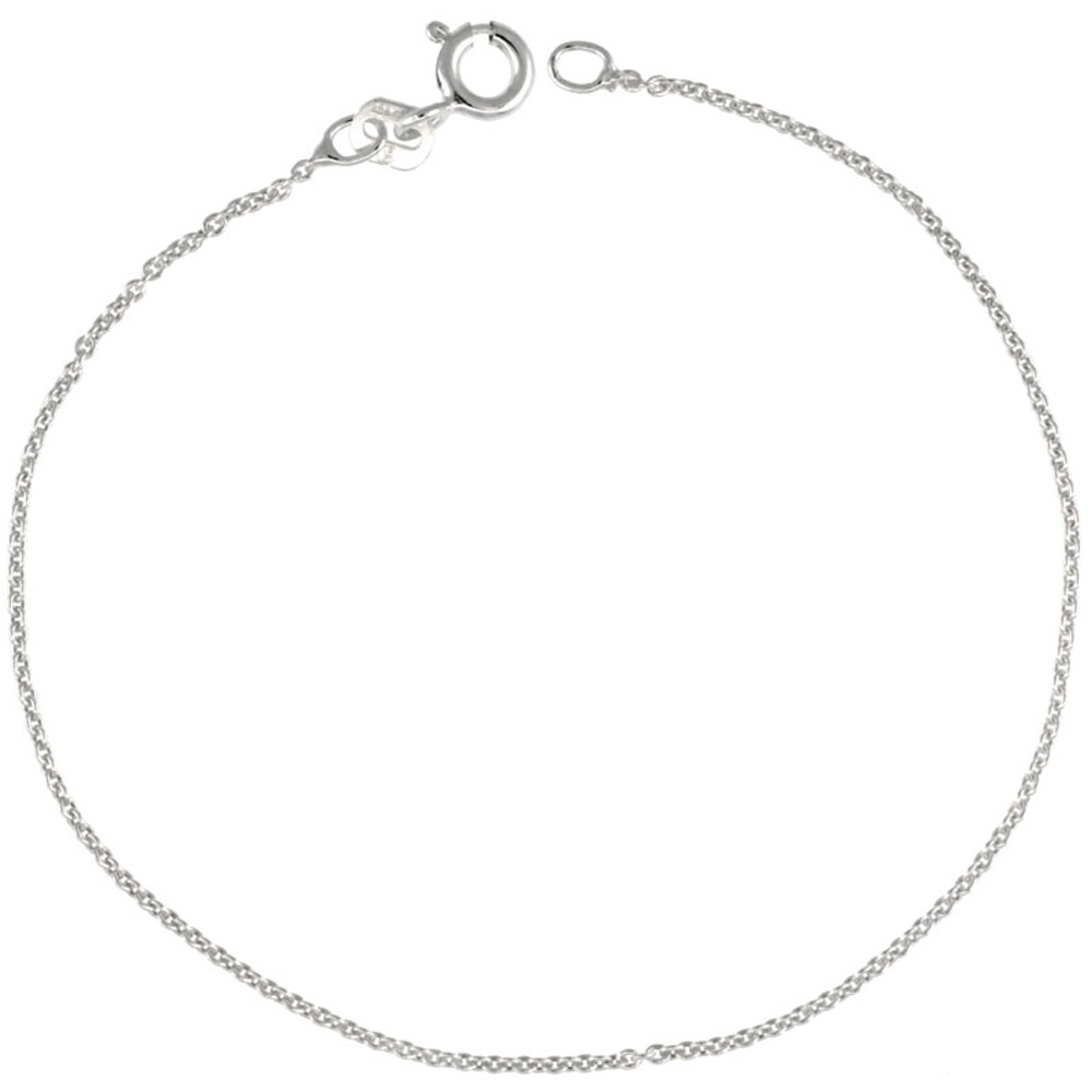 Sterling Silver Cable Chain Necklace 1.1mm thin Nickel Free Italy, sizes 16 - 18 inch