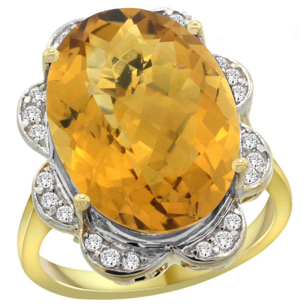 14k Yellow Gold Natural Whisky Quartz Ring Oval 18x13mm Diamond Floral Halo, 3/4inch wide, sizes 5 - 10