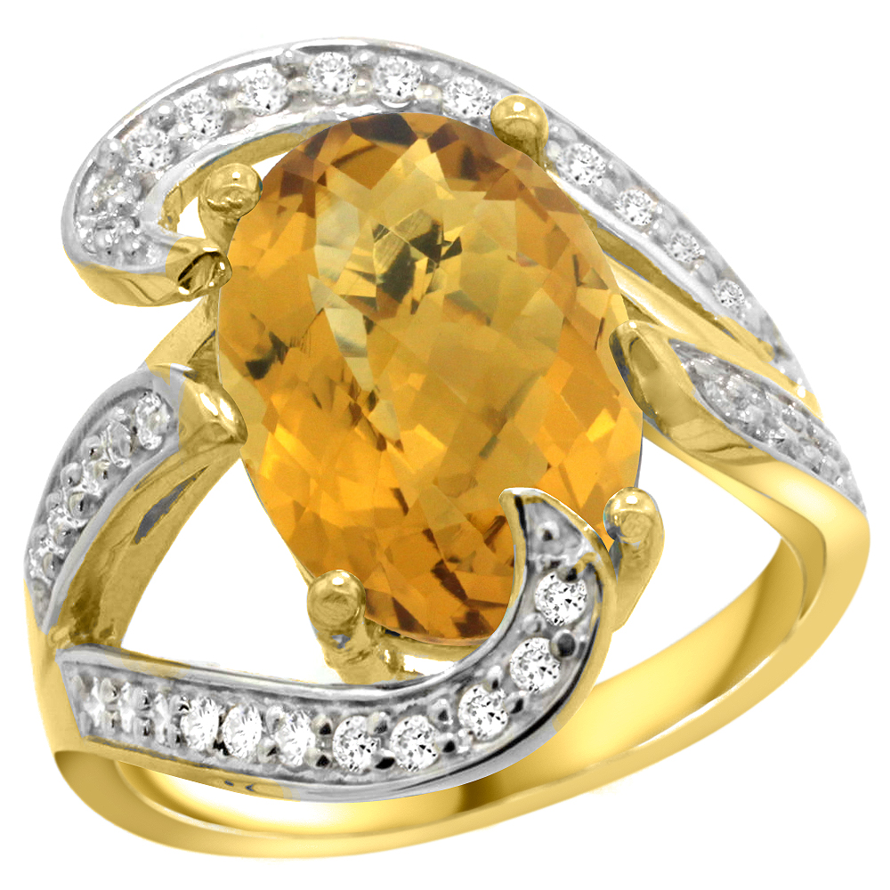 14k Yellow Gold Natural Whisky Quartz Ring Oval 14x10mm Diamond Accent, 3/4 inch wide, sizes 5 - 10