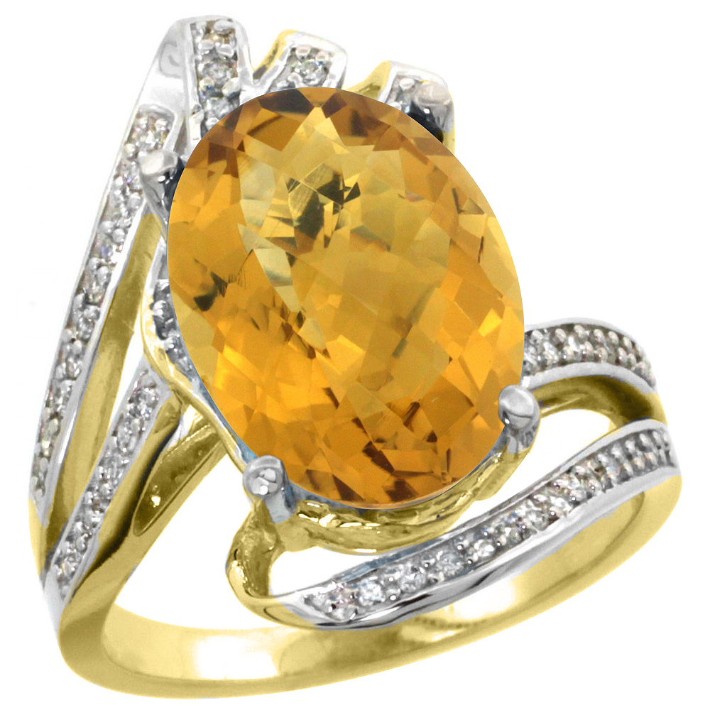 14k Yellow Gold Stone Natural Whisky Quartz Bypass Ring Diamond Accents Oval 14x10mm, sizes 5 - 10