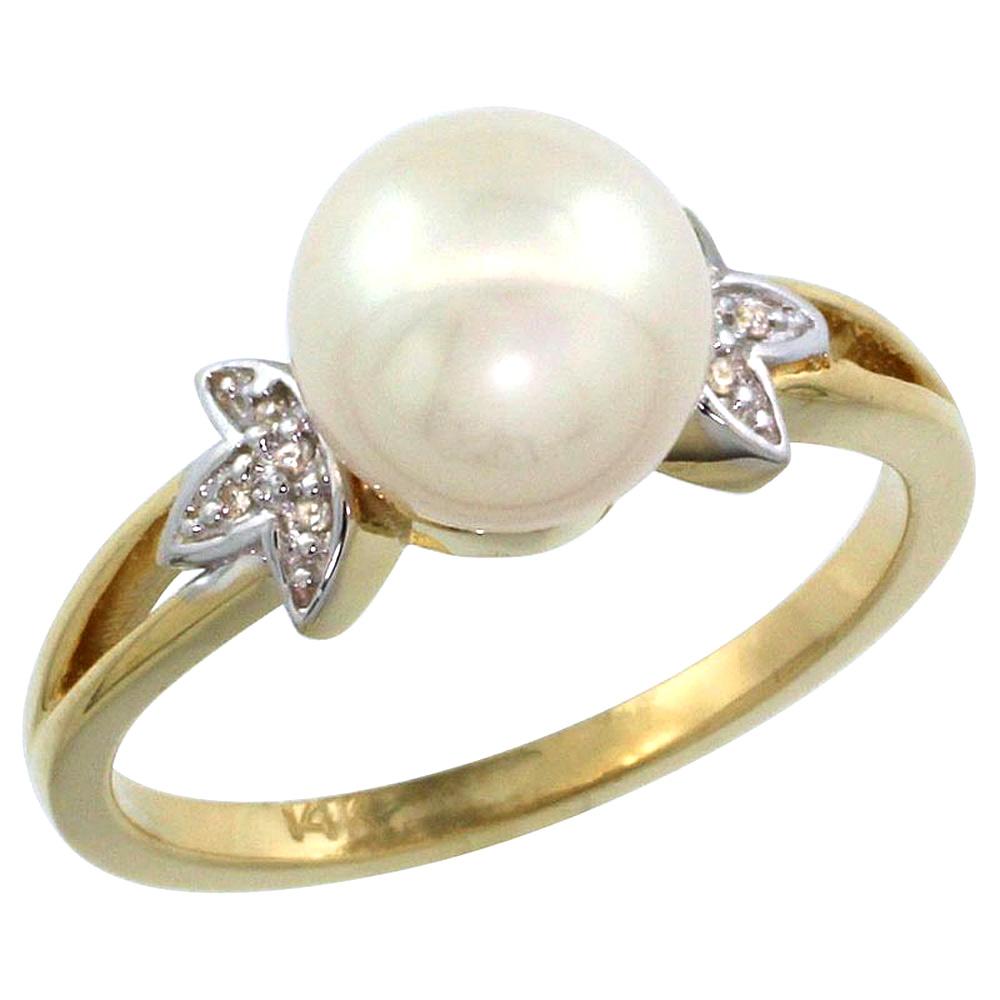 14k Yellow Gold Round 9mm Genuine Black Brown Pink White Pearl Split Shank Ring 0.04 ct Diamond, size5-10