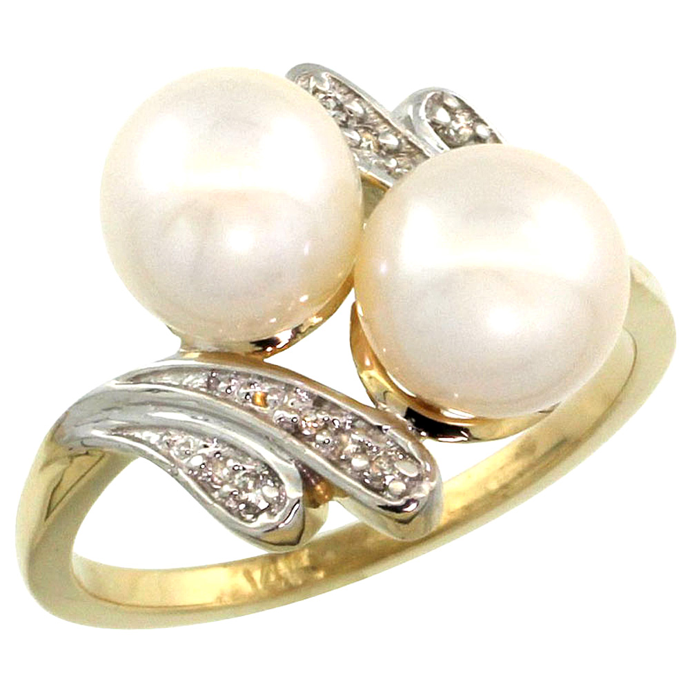14k Yellow Gold Diamond 7mm Round Black Brown Pink White Pearl Bypass Ring 0.05ct Brilliant cut, size5-10