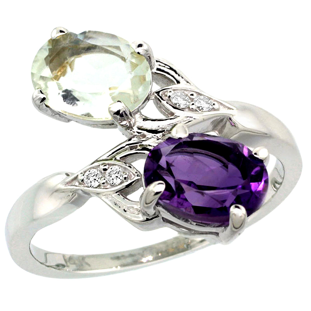 10K White Gold Diamond Natural Purple & Green Amethyst 2-stone Ring Oval 8x6mm, sizes 5 - 10