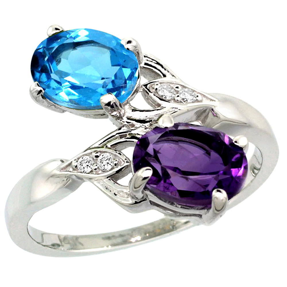 10K White Gold Diamond Natural Amethyst & Swiss Blue Topaz 2-stone Ring Oval 8x6mm, sizes 5 - 10