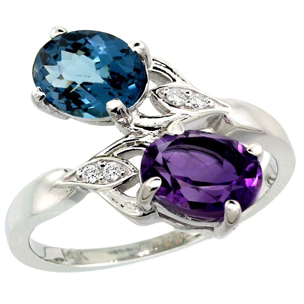 10K White Gold Diamond Natural Amethyst & London Blue Topaz 2-stone Ring Oval 8x6mm, sizes 5 - 10