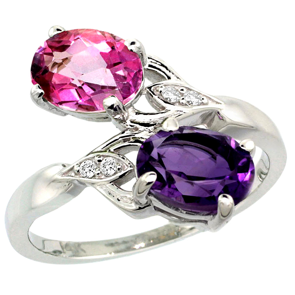 10K White Gold Diamond Natural Amethyst & Pink Topaz 2-stone Ring Oval 8x6mm, sizes 5 - 10