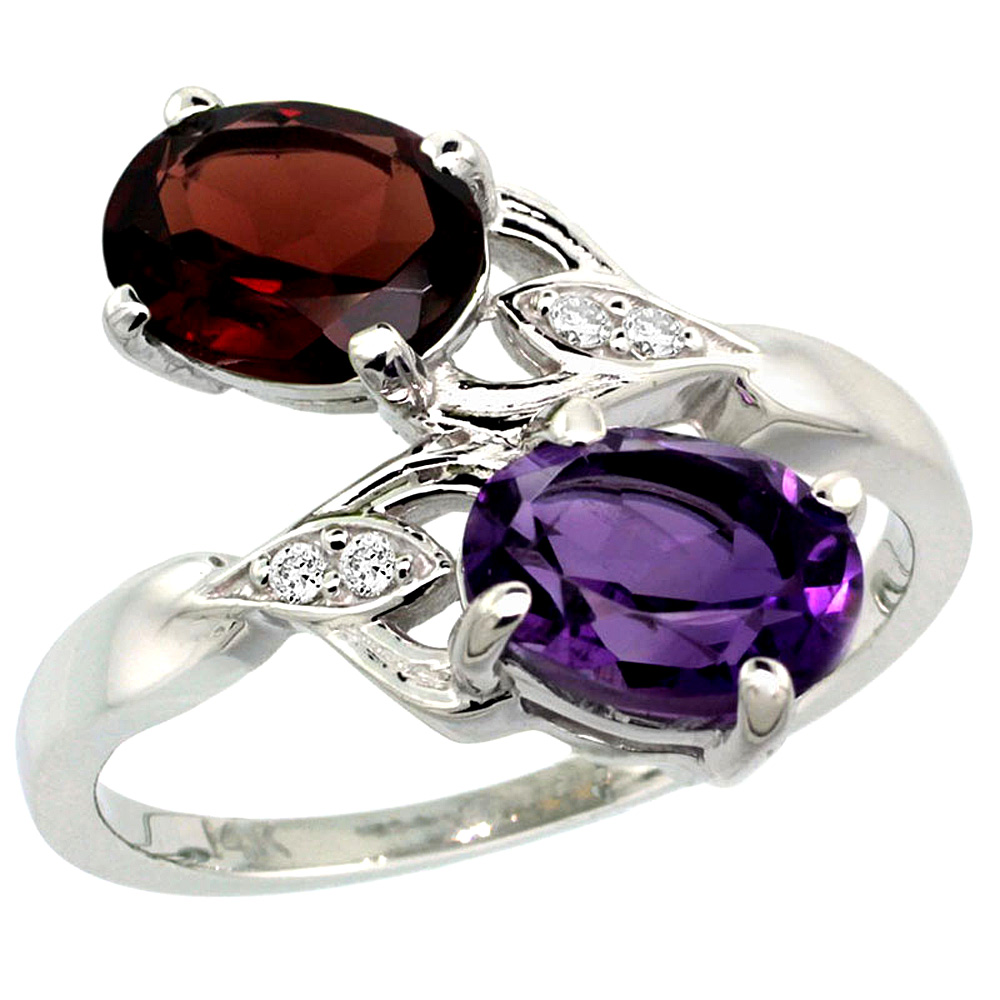 10K White Gold Diamond Natural Amethyst & Garnet 2-stone Ring Oval 8x6mm, sizes 5 - 10