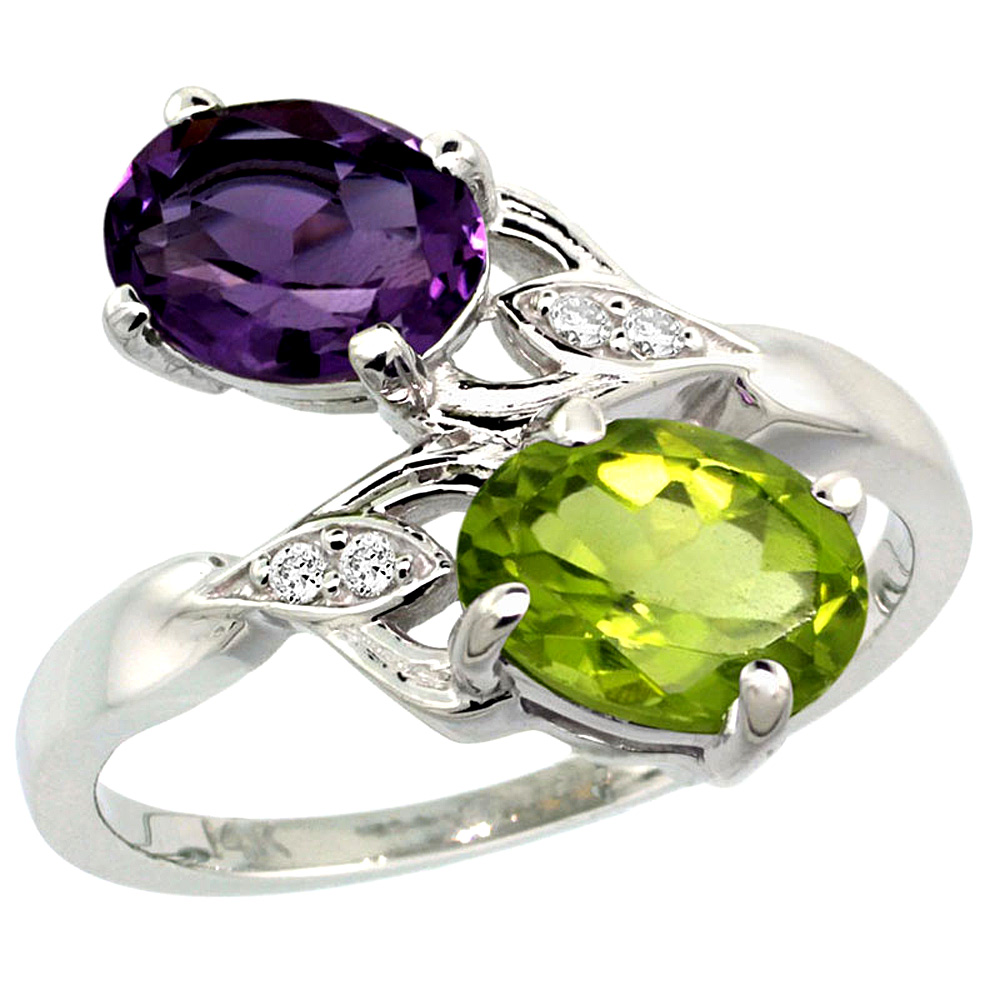 10K White Gold Diamond Natural Amethyst & Peridot 2-stone Ring Oval 8x6mm, sizes 5 - 10