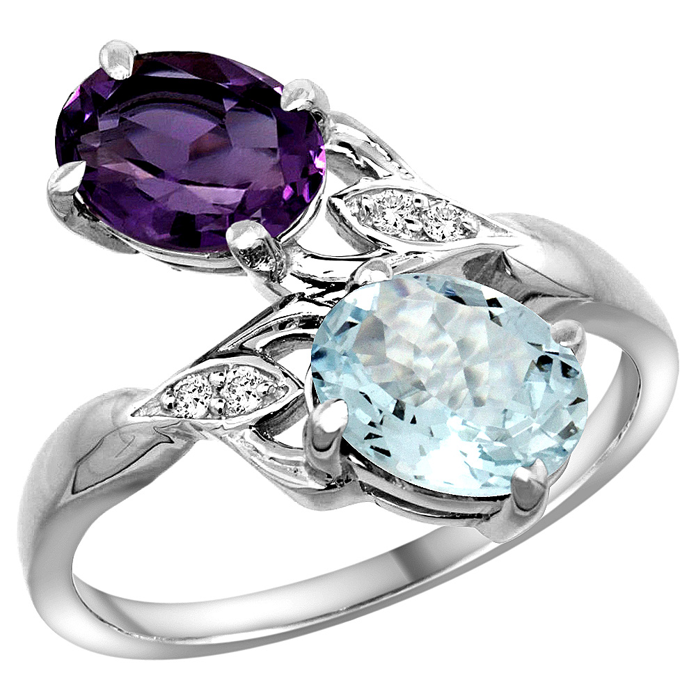 10K White Gold Diamond Natural Amethyst & Aquamarine 2-stone Ring Oval 8x6mm, sizes 5 - 10