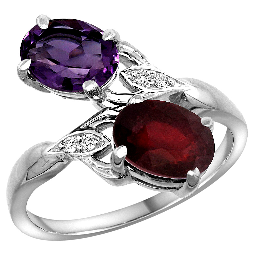 10K White Gold Diamond Natural Amethyst & Enhanced Genuine Ruby 2-stone Ring Oval 8x6mm, sizes 5 - 10
