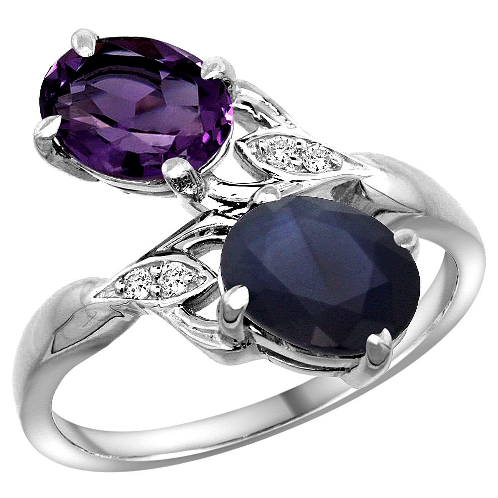 10K White Gold Diamond Natural Amethyst & Blue Sapphire 2-stone Ring Oval 8x6mm, sizes 5 - 10