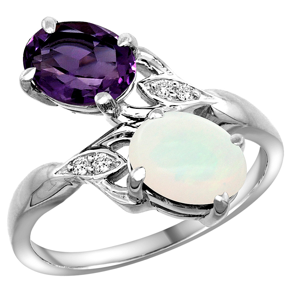 10K White Gold Diamond Natural Amethyst & Opal 2-stone Ring Oval 8x6mm, sizes 5 - 10