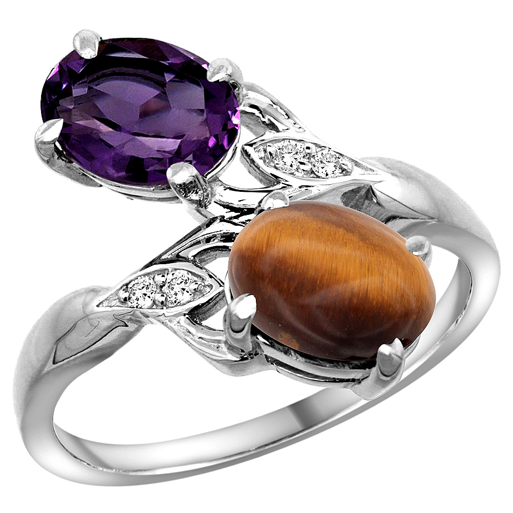 10K White Gold Diamond Natural Amethyst & Tiger Eye 2-stone Ring Oval 8x6mm, sizes 5 - 10