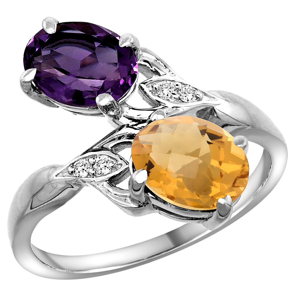 10K White Gold Diamond Natural Amethyst & Whisky Quartz 2-stone Ring Oval 8x6mm, sizes 5 - 10