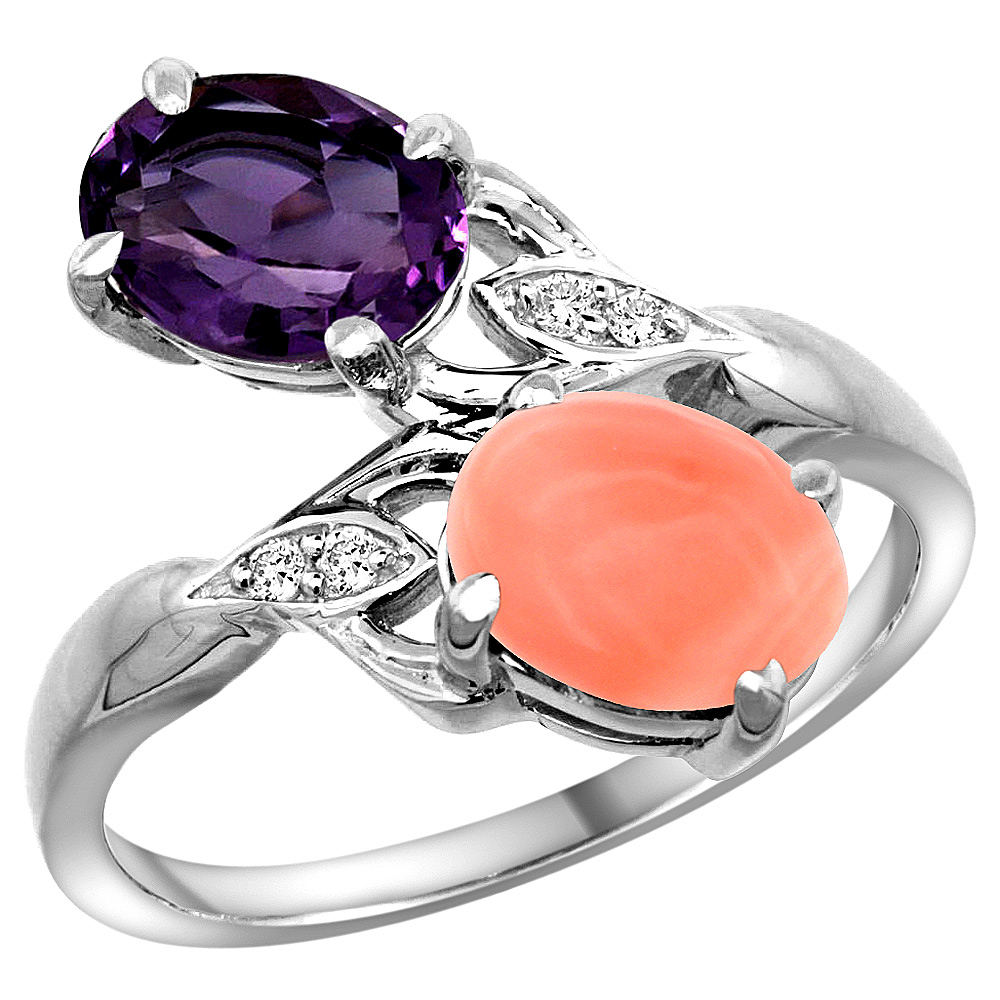 10K White Gold Diamond Natural Amethyst & Coral 2-stone Ring Oval 8x6mm, sizes 5 - 10