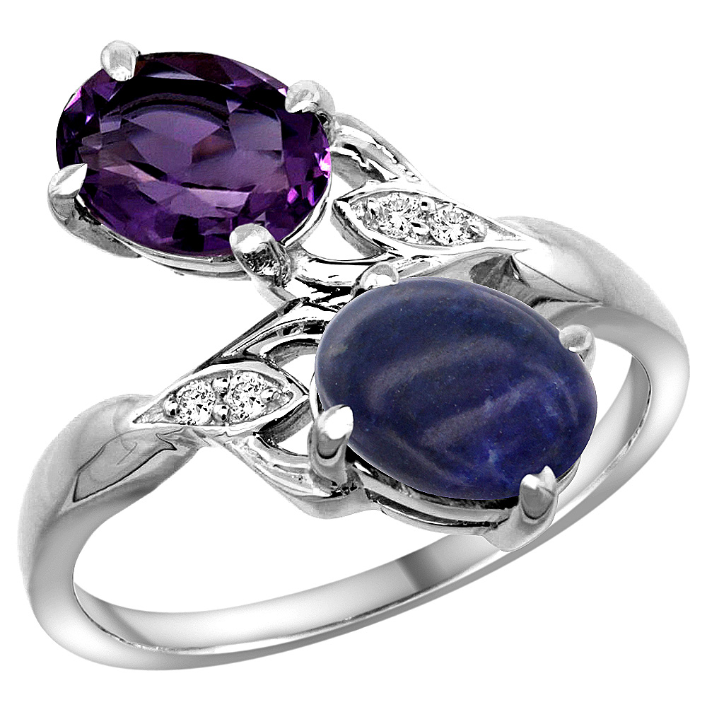 10K White Gold Diamond Natural Amethyst & Lapis 2-stone Ring Oval 8x6mm, sizes 5 - 10