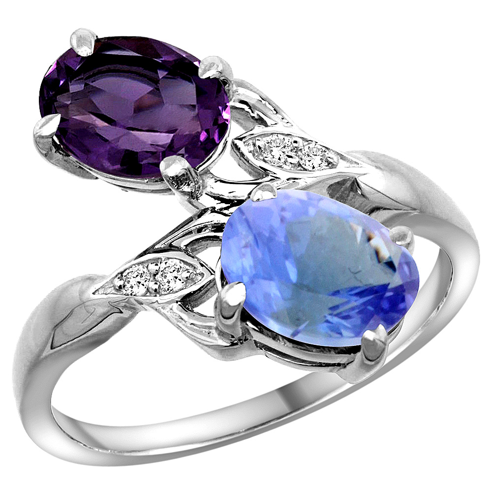 10K White Gold Diamond Natural Amethyst & Tanzanite 2-stone Ring Oval 8x6mm, sizes 5 - 10