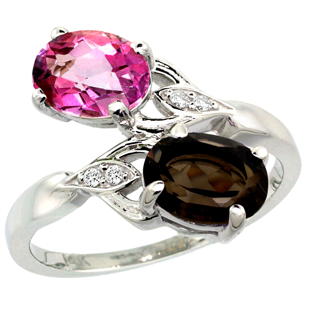 14k White Gold Diamond Natural Pink & Smoky Topaz 2-stone Ring Oval 8x6mm, sizes 5 - 10