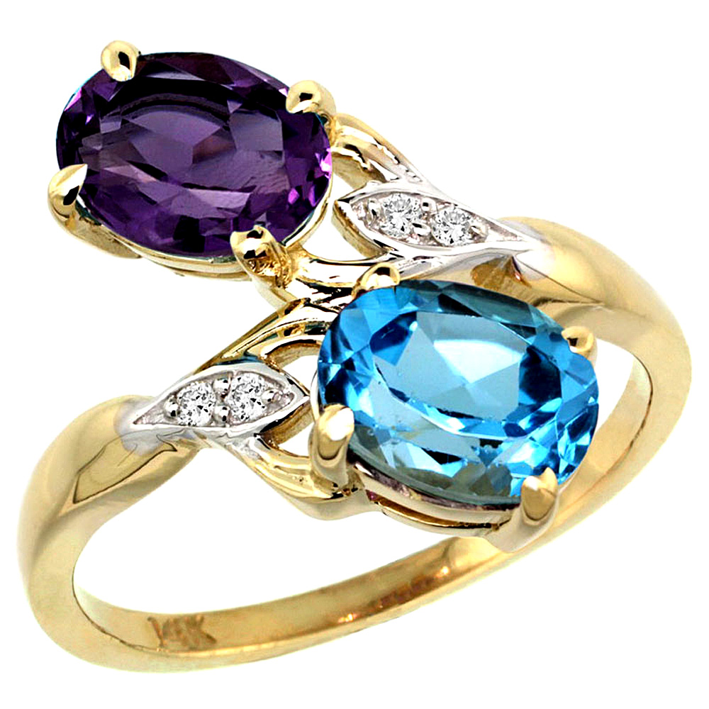 10K Yellow Gold Diamond Natural Amethyst & Swiss Blue Topaz 2-stone Ring Oval 8x6mm, sizes 5 - 10