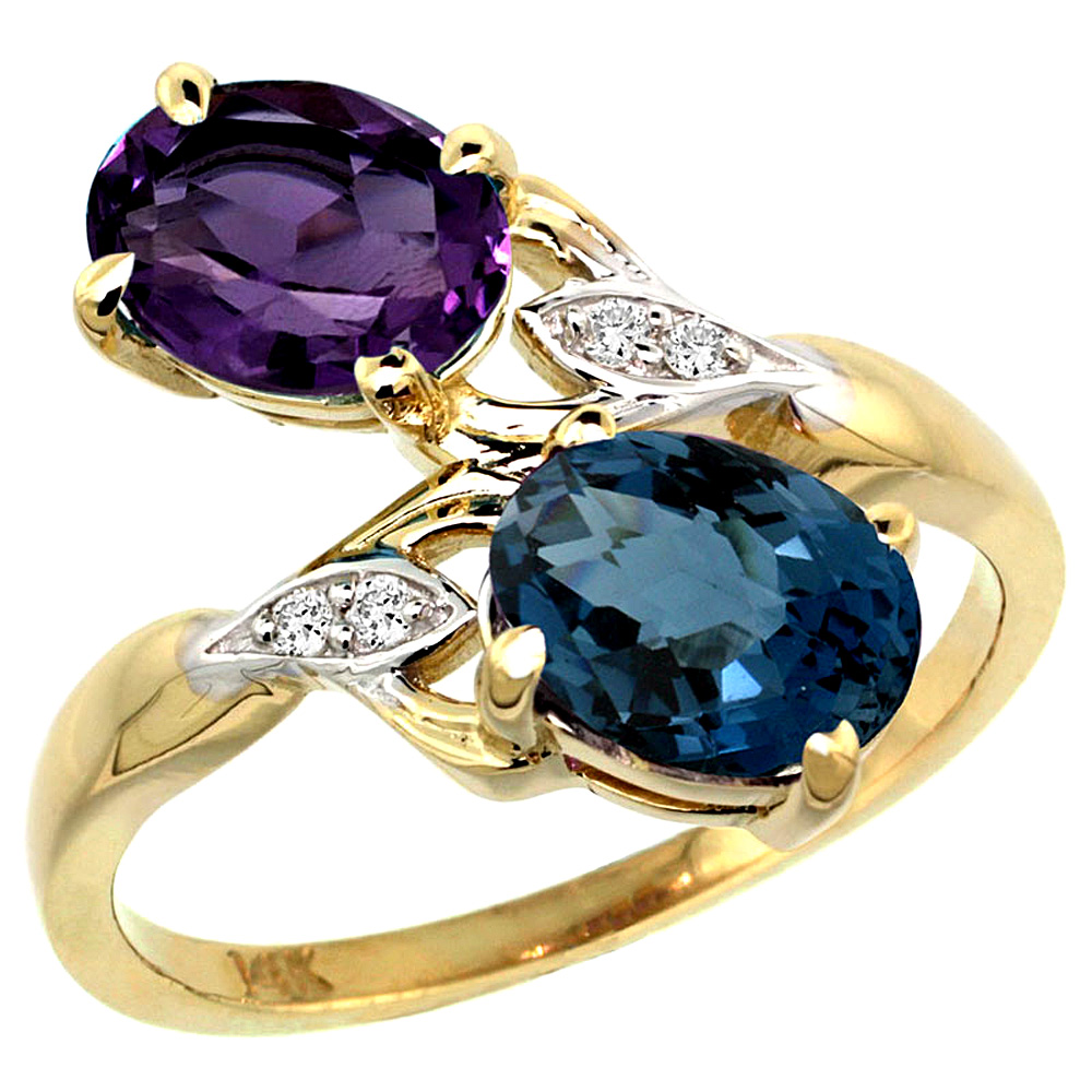 10K Yellow Gold Diamond Natural Amethyst & London Blue Topaz 2-stone Ring Oval 8x6mm, sizes 5 - 10