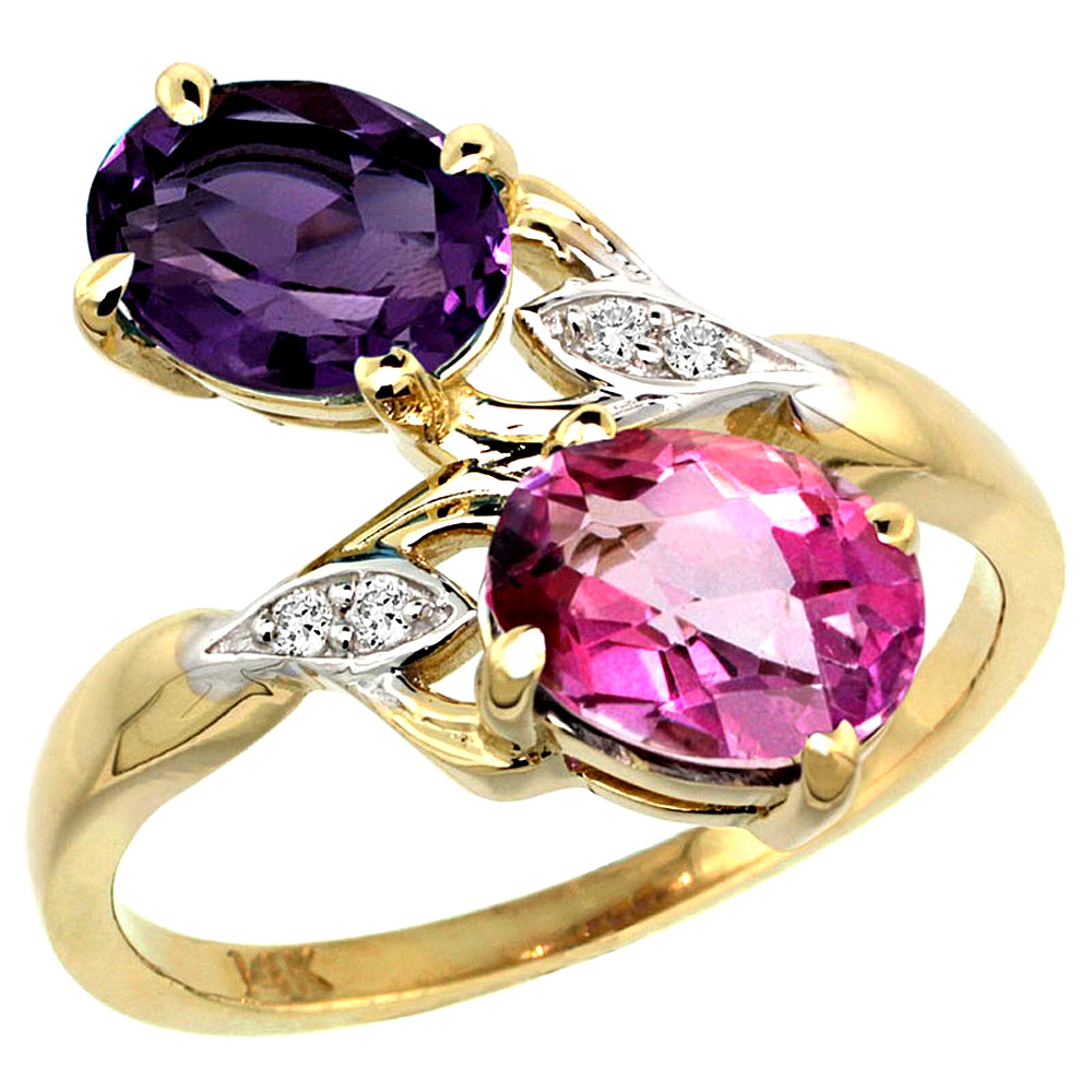 10K Yellow Gold Diamond Natural Amethyst & Pink Topaz 2-stone Ring Oval 8x6mm, sizes 5 - 10