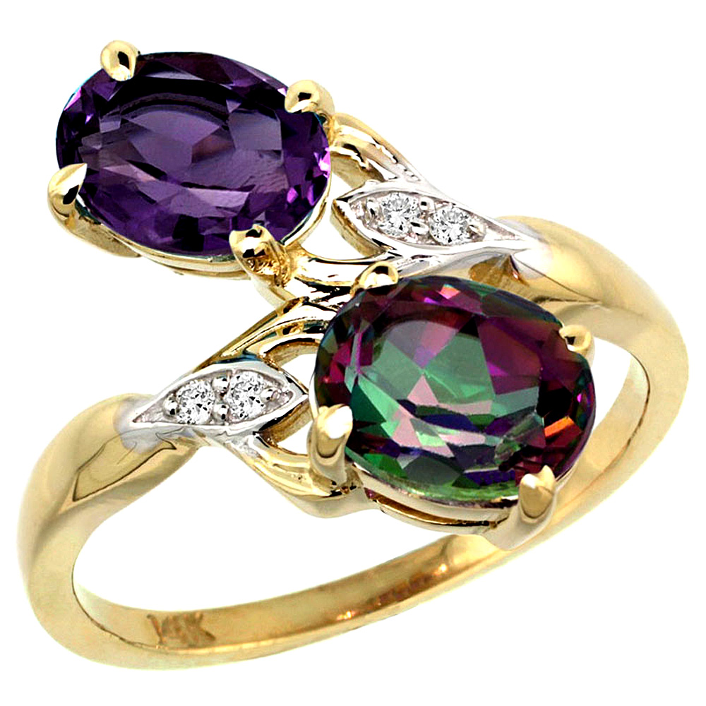 10K Yellow Gold Diamond Natural Amethyst & Mystic Topaz 2-stone Ring Oval 8x6mm, sizes 5 - 10