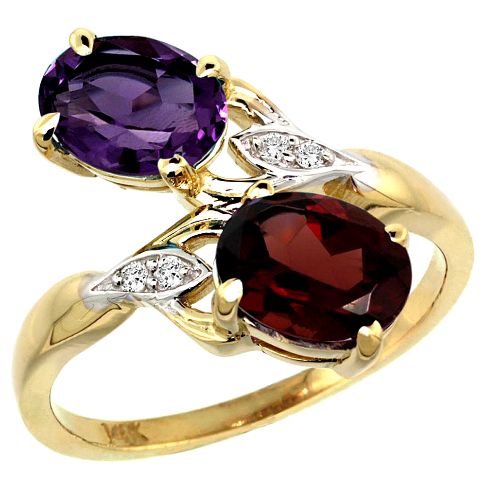 10K Yellow Gold Diamond Natural Amethyst & Garnet 2-stone Ring Oval 8x6mm, sizes 5 - 10