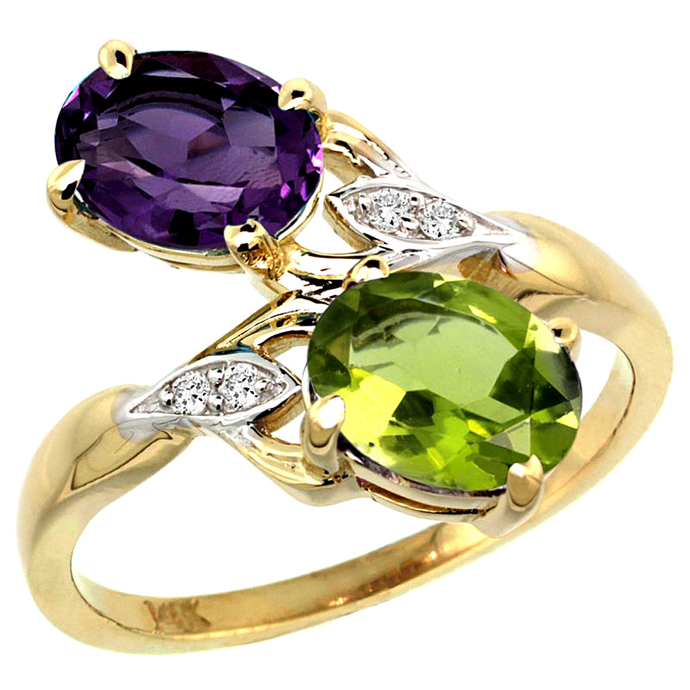 10K Yellow Gold Diamond Natural Amethyst & Peridot 2-stone Ring Oval 8x6mm, sizes 5 - 10