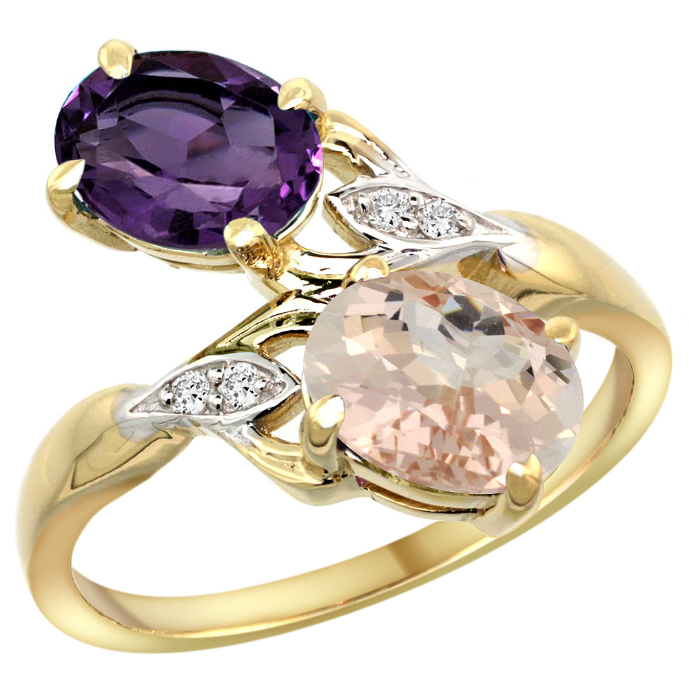 10K Yellow Gold Diamond Natural Amethyst & Morganite 2-stone Ring Oval 8x6mm, sizes 5 - 10