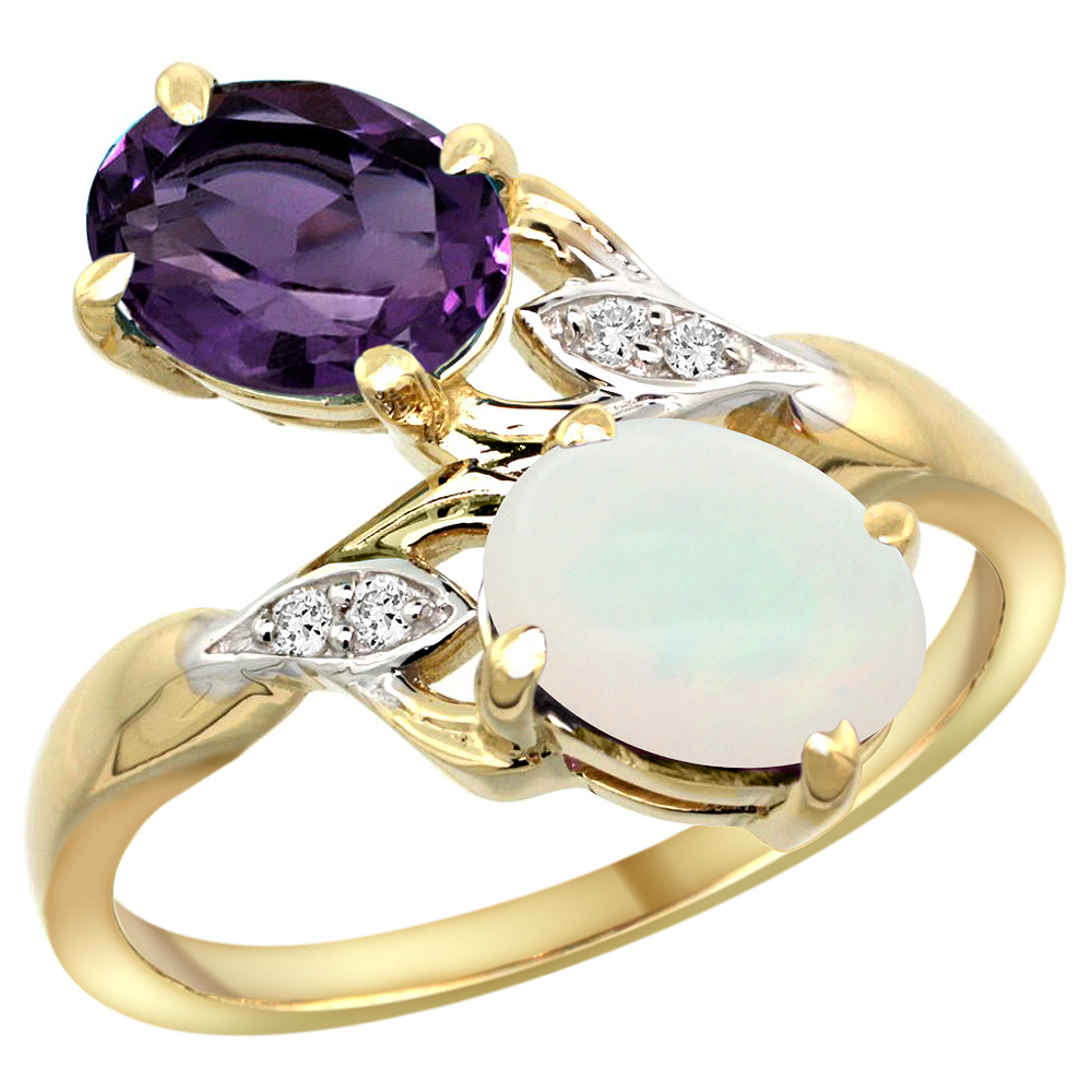 10K Yellow Gold Diamond Natural Amethyst & Opal 2-stone Ring Oval 8x6mm, sizes 5 - 10