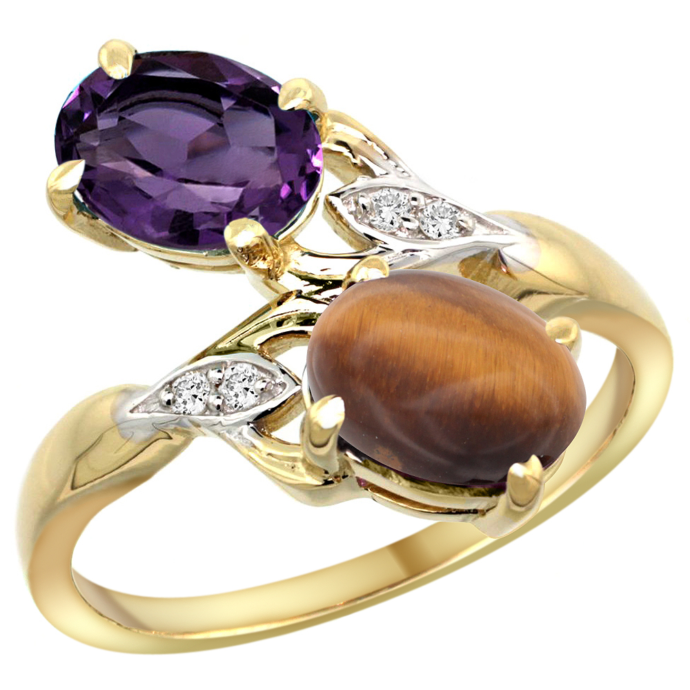 10K Yellow Gold Diamond Natural Amethyst & Tiger Eye 2-stone Ring Oval 8x6mm, sizes 5 - 10