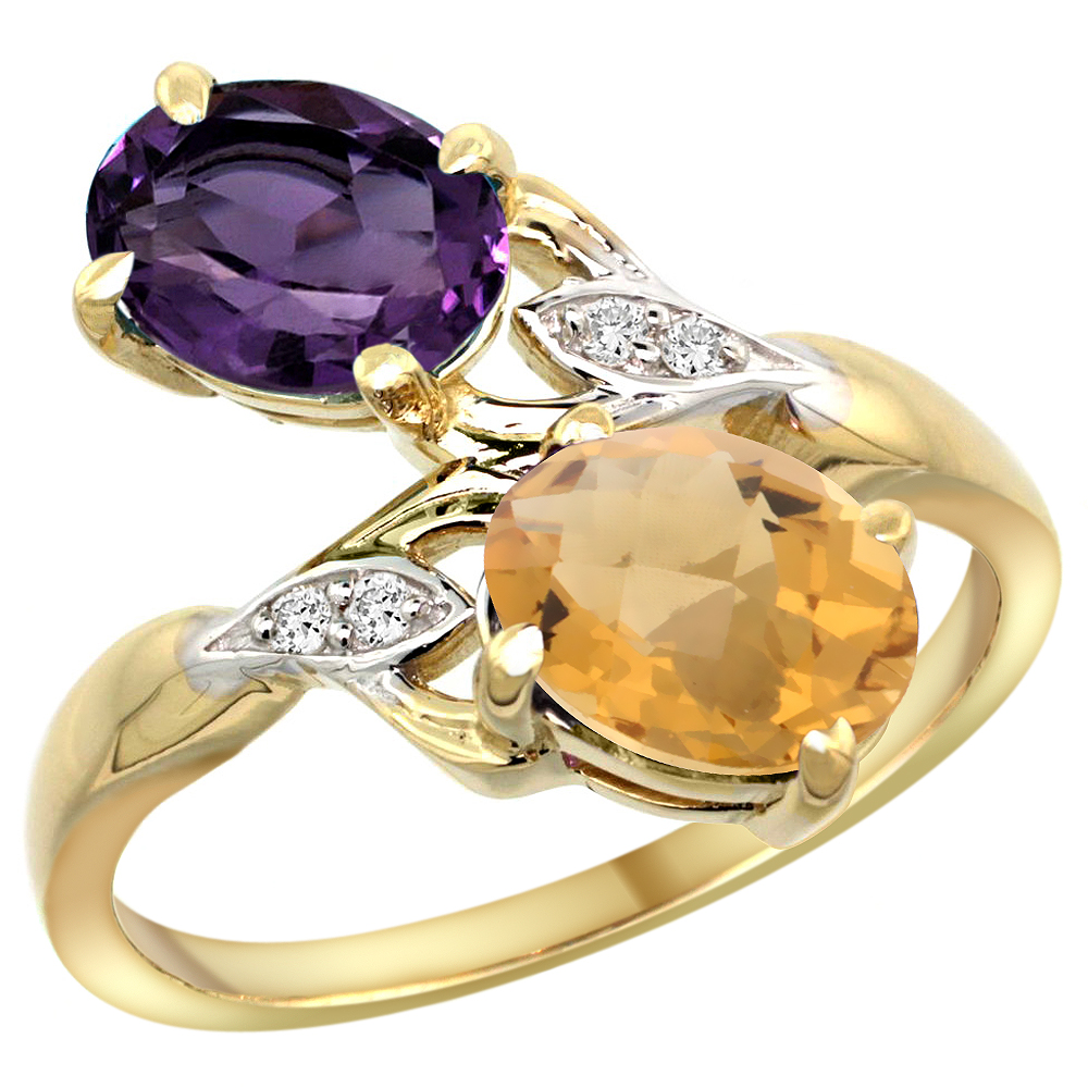 10K Yellow Gold Diamond Natural Amethyst & Whisky Quartz 2-stone Ring Oval 8x6mm, sizes 5 - 10