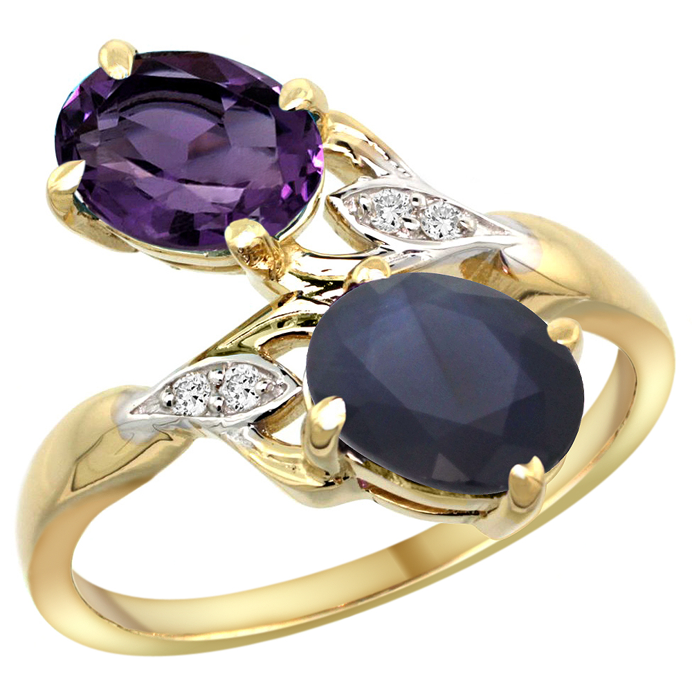 10K Yellow Gold Diamond Natural Amethyst & Australian Sapphire 2-stone Ring Oval 8x6mm, sizes 5 - 10
