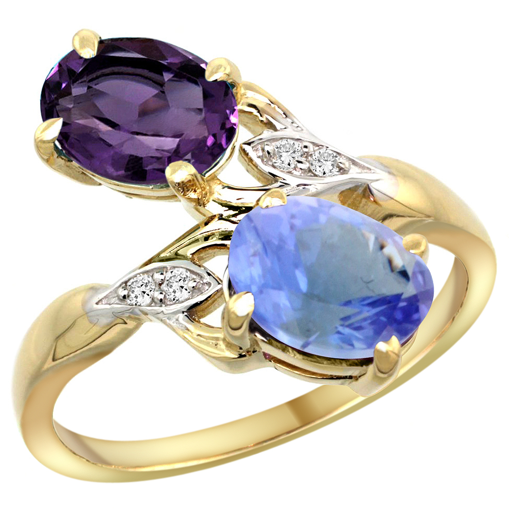 10K Yellow Gold Diamond Natural Amethyst & Tanzanite 2-stone Ring Oval 8x6mm, sizes 5 - 10