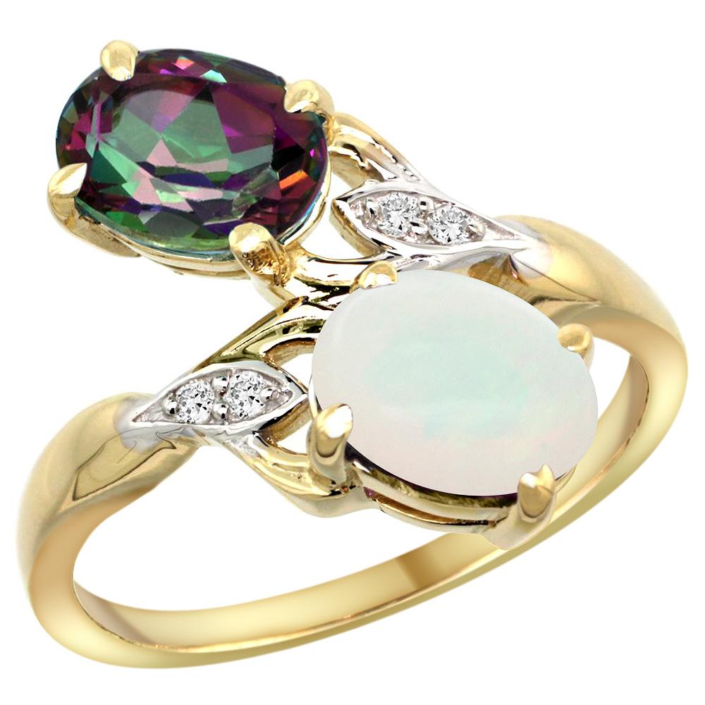 10K Yellow Gold Diamond Natural Mystic Topaz & Opal 2-stone Ring Oval 8x6mm, sizes 5 - 10