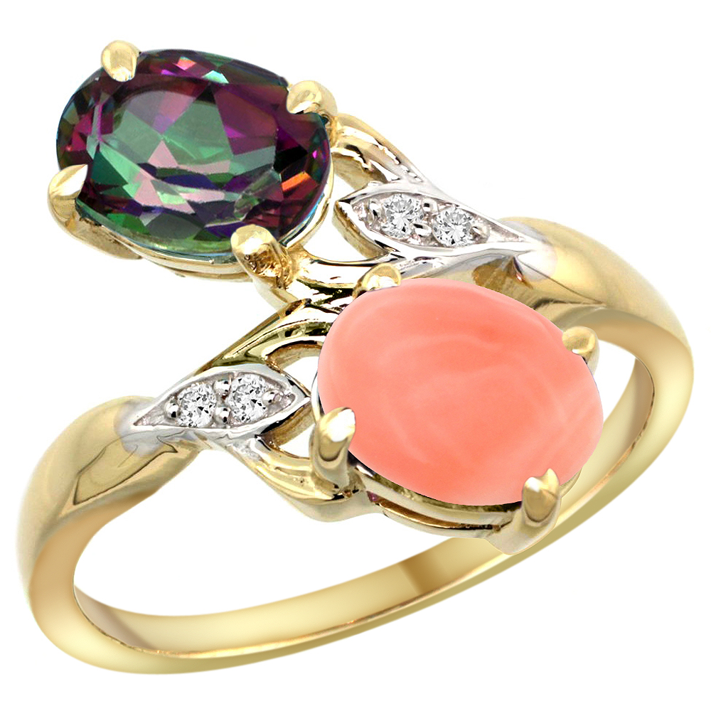 10K Yellow Gold Diamond Natural Mystic Topaz & Coral 2-stone Ring Oval 8x6mm, sizes 5 - 10