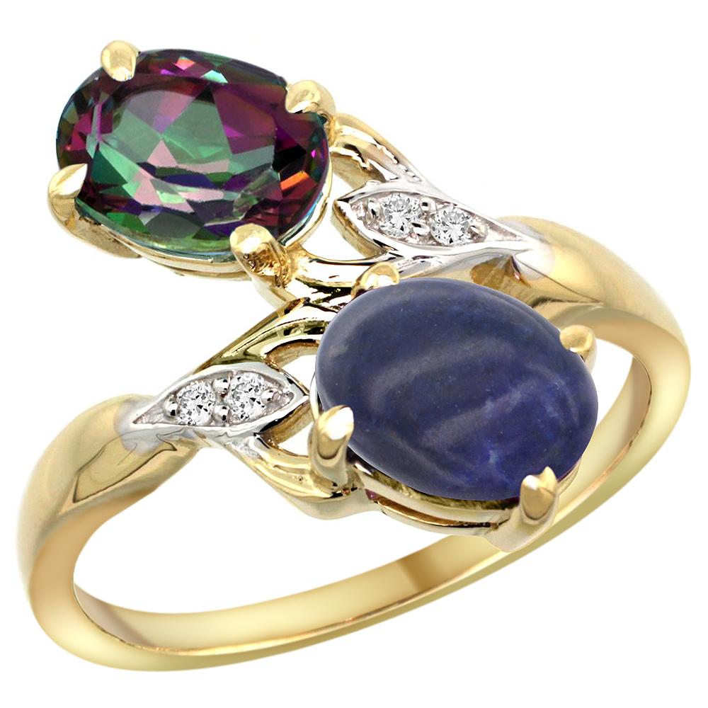 10K Yellow Gold Diamond Natural Mystic Topaz & Lapis 2-stone Ring Oval 8x6mm, sizes 5 - 10