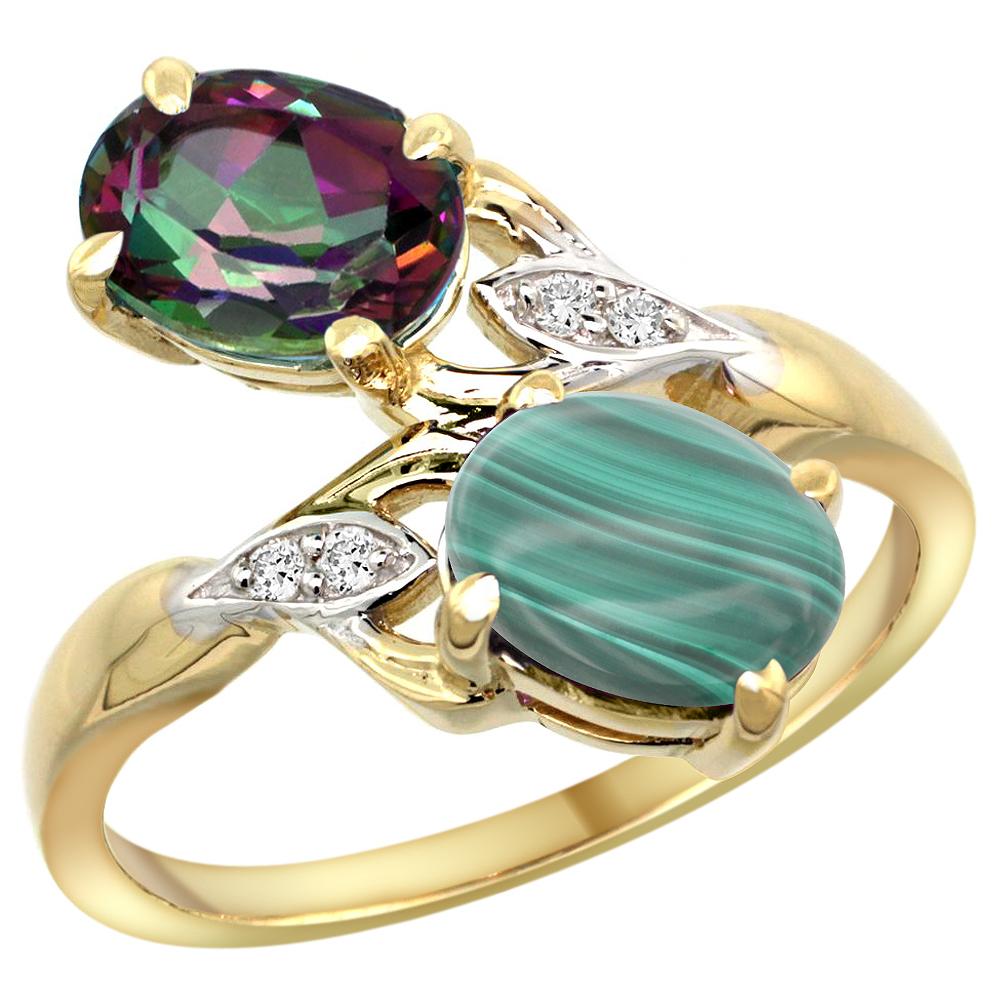 10K Yellow Gold Diamond Natural Mystic Topaz & Malachite 2-stone Ring Oval 8x6mm, sizes 5 - 10